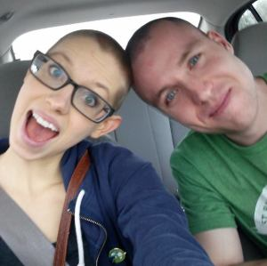 This is a more recent picture of us.  We shaved our heads to fight childhood cancer. Amazing experience.