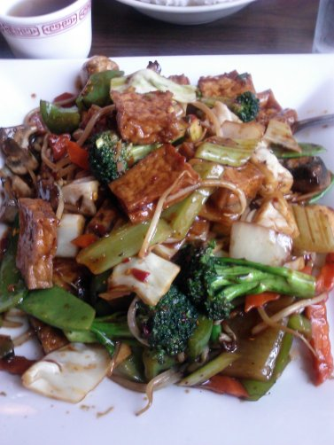 Braised tofu with stir-fried veggies
