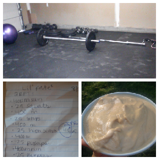 Top: new home gym set up complete with rubber flooring bottom left: this morning's workout bottom right:  a delicous lime smoothie