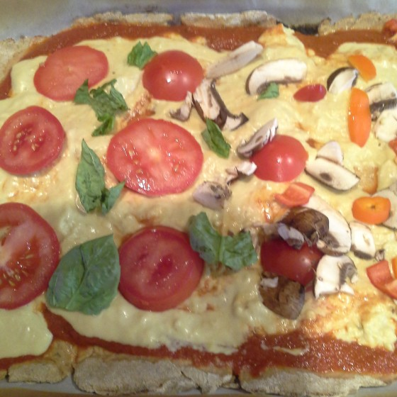"This is before it was baked, the ""cheese"" browns up nicely, suprisingly enough:)"