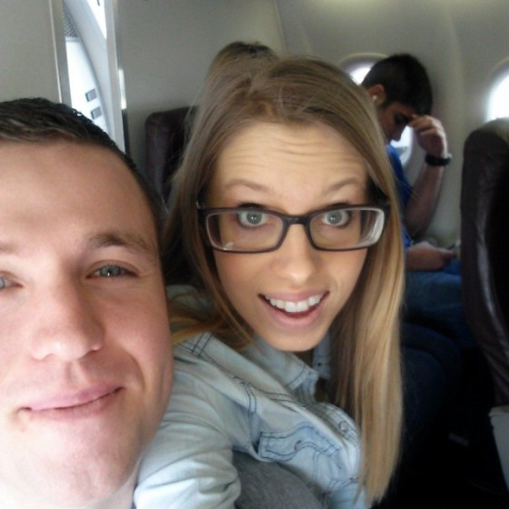On the plane!  This was our first plane ride together:)